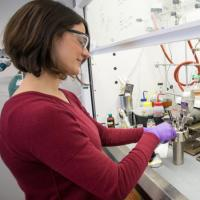 Kristina Hugar, Ph.D. '15, Ecolectro's chief science officer, conducts research in the startup's laboratory space at Cornell's McGovern Center.
