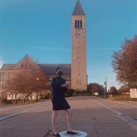 Girl outside mcGraw tower