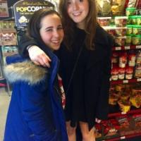 Allison Wild '19 and I pose in Bear Necessities, the convenience store on North Campus that conveniently sells Cornell peanut butter!