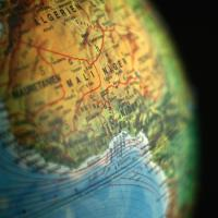image of globe showing Africa