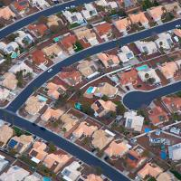 Rows of homes seen from above