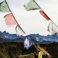Colorful flags with mountains in the background