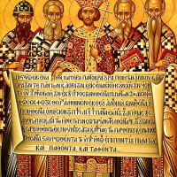 Christian icon depicting five people