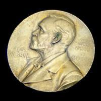 Gold medal on black background