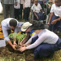 Thomas Nolan plants a tree with students