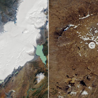 Composite image from NASA showing the glacier disappearing
