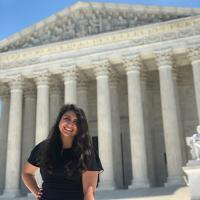 Estefania Perez outside the Supreme Court building