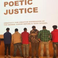 poetry group with local students