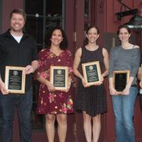 From left postdocs David Toews, Ana Maria Porras, Elizabeth Day and Tisha Bohr holding their awards