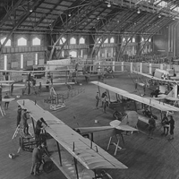 1917 image of airplanes in Barton Hall
