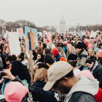 Crowds at a march in Washington DC. Photo credit: @royaannmiller/Unsplash