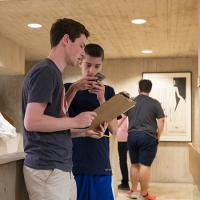 Summer scholars take part in a scavenger hunt at the Johnson Museum