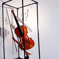 Violin in a three-dimensional frame