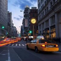 Taxis on a NYC street
