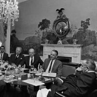 1967 meeting between President Lyndon B. Johnson and some of his most trusted foreign policy advisers.