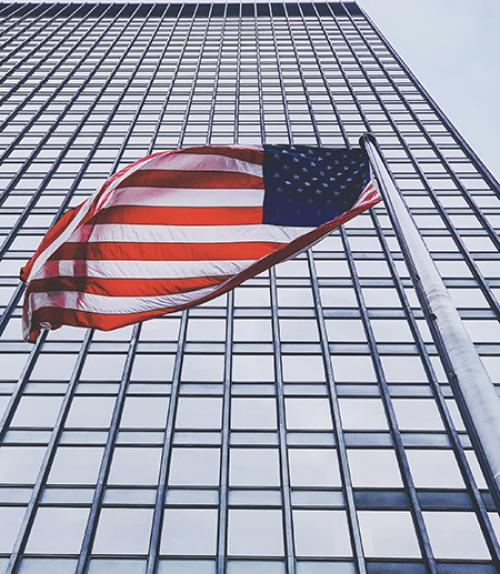 U.S. flag outside building