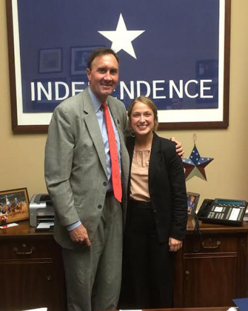 Chelsea Sincox '18, intern with Rep. Pete Olson (R-Texas) in the U.S. House of Representatives