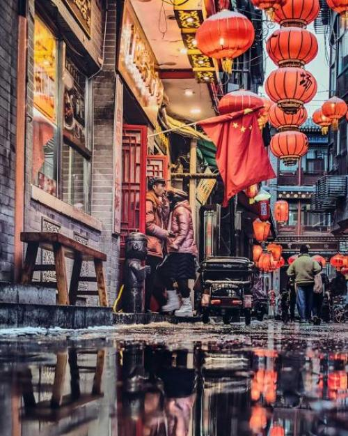 Alley decorated with red lanterns