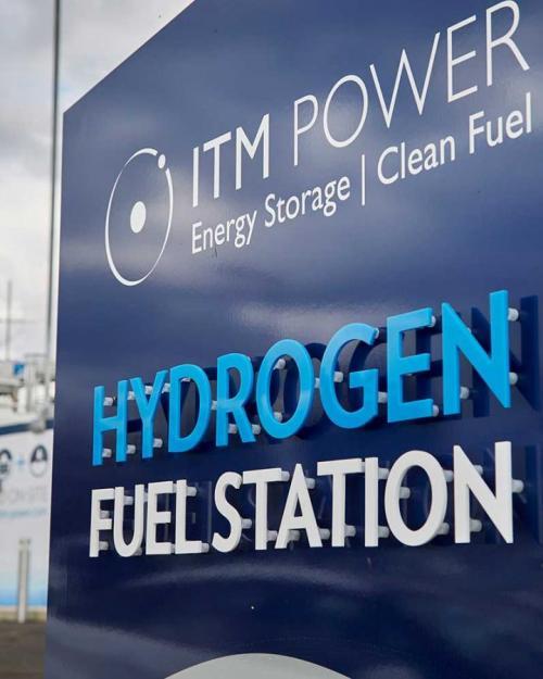 """Blue sign: """"Hydrogen Fuel Station"""""""