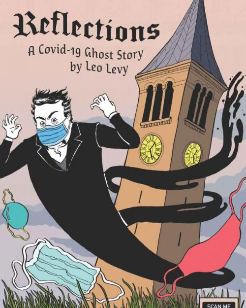 comic showing ghost, McGraw Tower and COVID mask