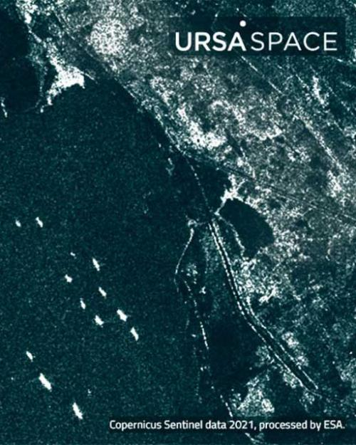 Satellite view of a canal