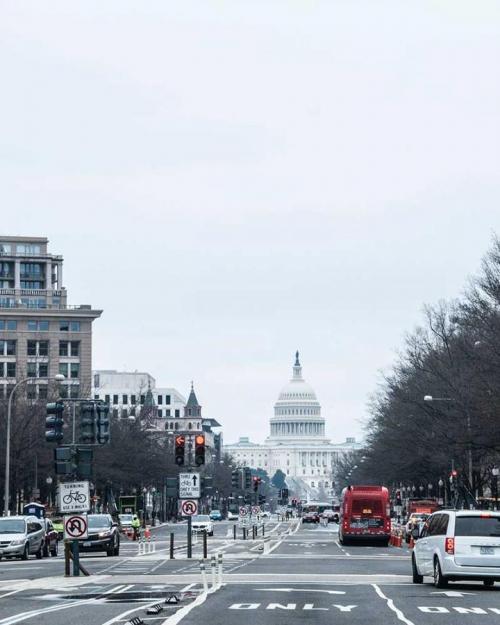 City avenue leading toward US Capital building