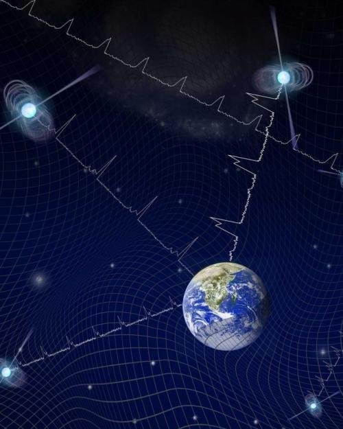 Illustration of stars connected to Earth by jagged line