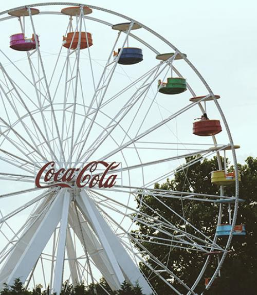 Ferris wheel with Coca-Cola logo in the center