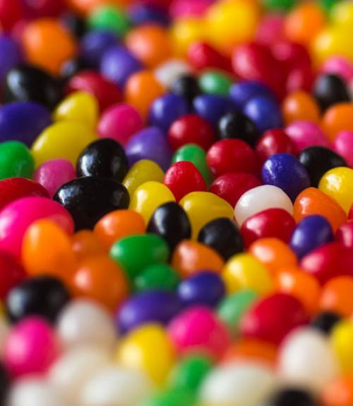an assortment of colored candies