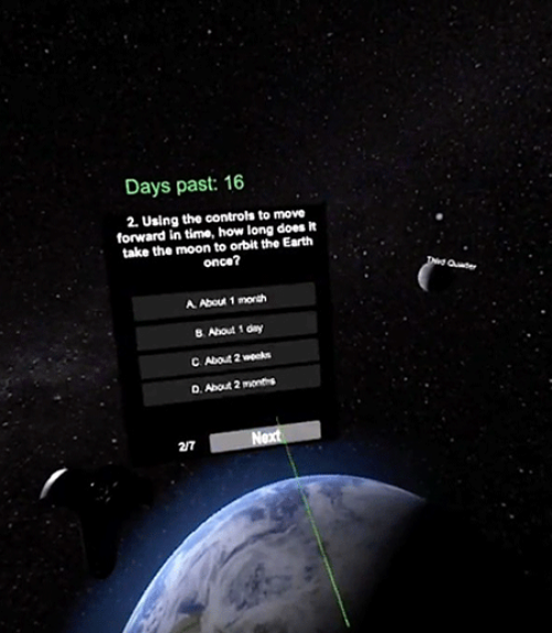 Multiple-choice question suspended in space