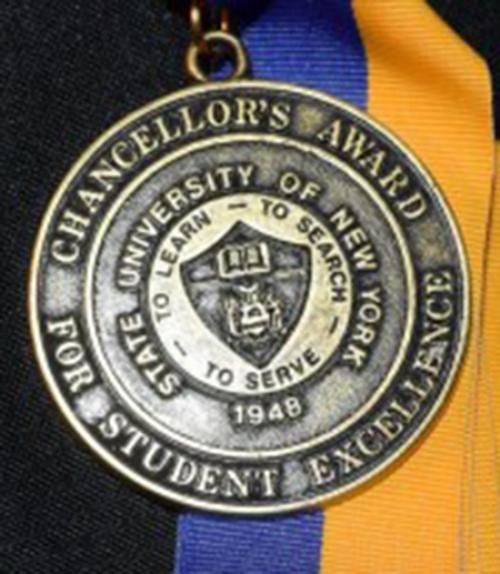 Award medal on blue and gold ribbon