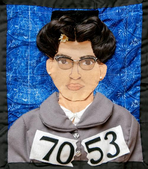 Depiction of Rosa Parks made of fabric