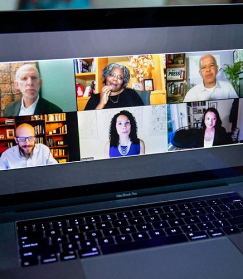 Screen shot showing six people