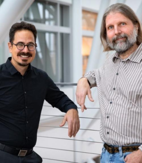 Itai Cohen, professor of physics, and Paul McEuen, the John A. Newman Professor of Physical Science