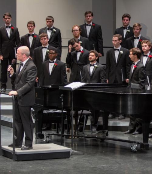 2015 Homecoming Weekend: Professor Robert Isaacs (MUSIC) speaks at the Cornell Glee Club Homecoming Concert.