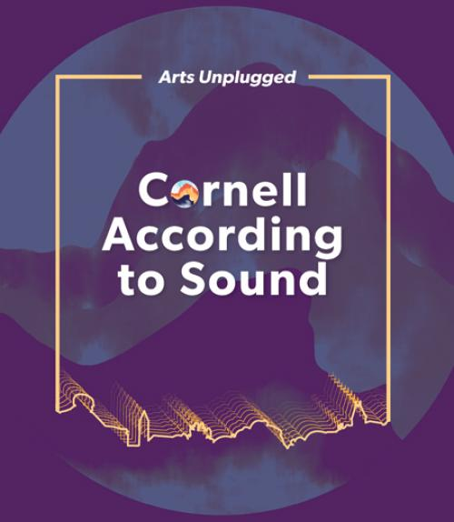 Cornell According to Sound illustration with the outline of the campus as a soundwave