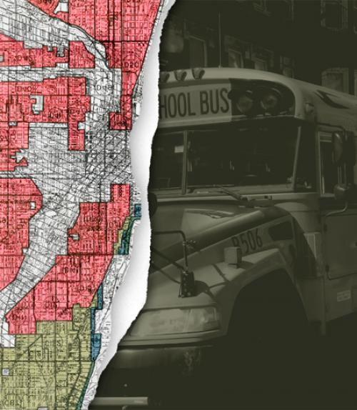 A map showing redlining next to a school bus