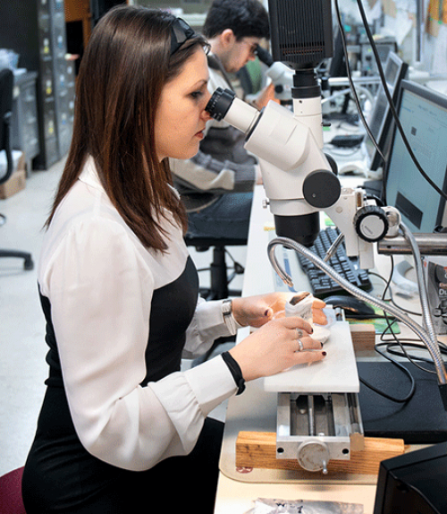 Person looking into a microscope