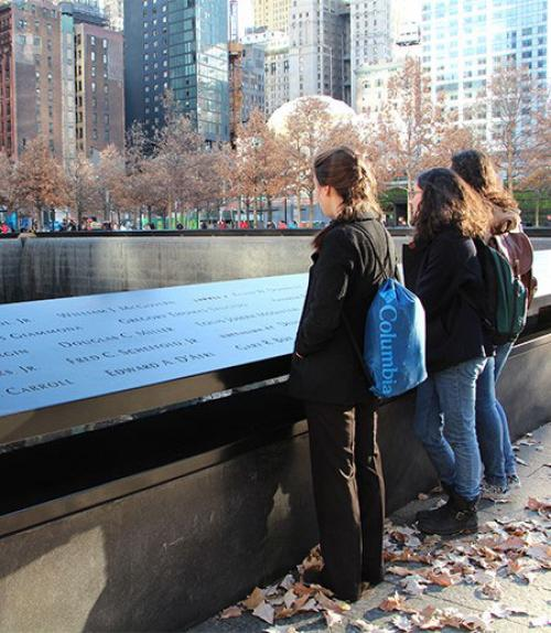 Anthropology students at 9/11 Memorial in NYC