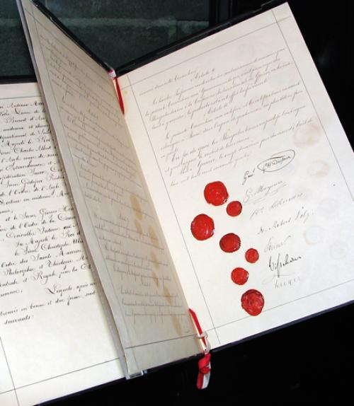 Original document of the first Geneva Convention, 1864