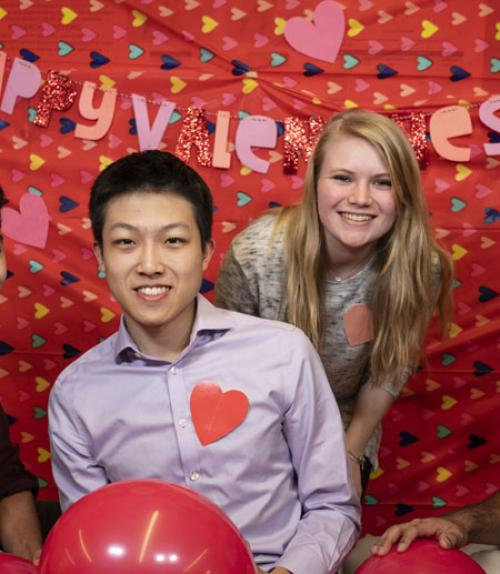 Students Jeff Liu 19 and Samantha Taylor 22, part of the Perfect Match team