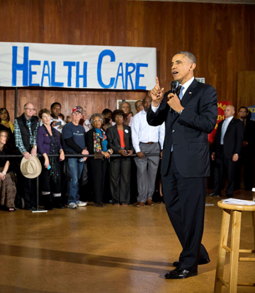 President Obama speaking to a crowd