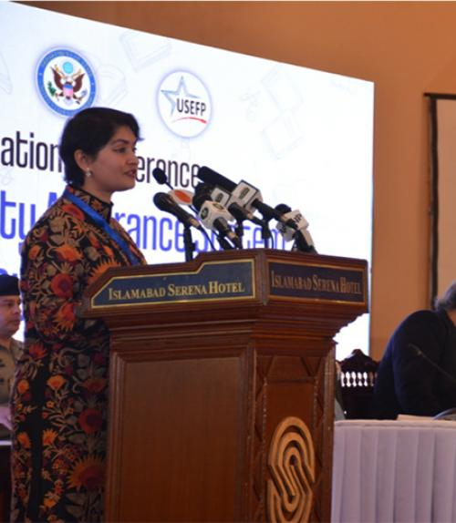 Malik leads a session at the Pakistan Higher Education Commission