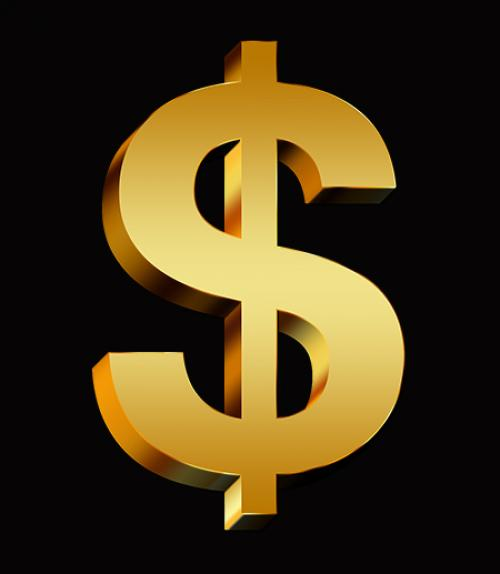 A gold US dollar sign on a black background