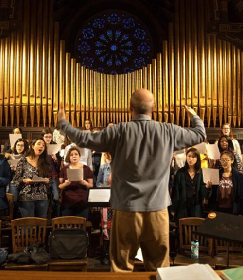 Photo of a chorus rehearsal