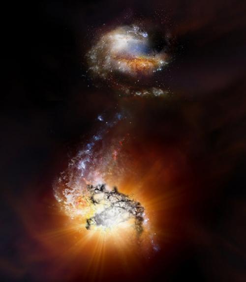 A pair of massive, hyper-luminous galaxies a