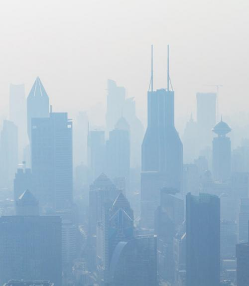 City buildings made gray by smog