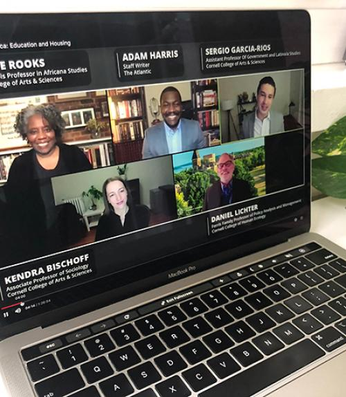 Five people on a screen