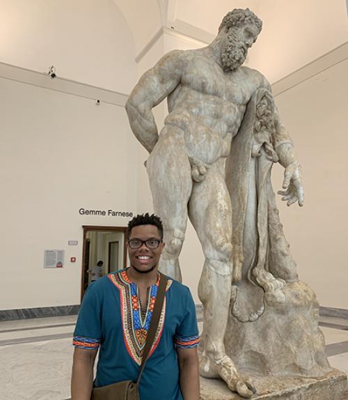 Joshua Johnson and a classical statue