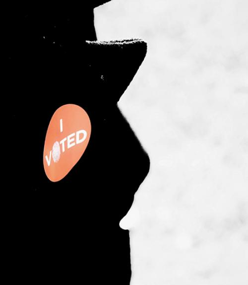 """""""I Voted"""" sticker on a coat lapel"""